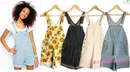 Wholesale Hot Sale Color American Apparel Summer SWEET SHORT Women Denim Overall Brand Cute Senior Sunflower Jeans Suspender Jumpsuit