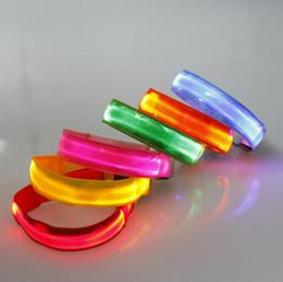 Wholesale Outdoor Sports Safety Night Activity Party Cheer Nylon Band Transparent LED Flashing Arm Band Wrist Strap Armband
