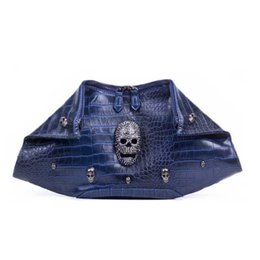 Wholesale-Women Bag European Fashion Crocodile Shoulder Bags Hobo Clutch Skull Rivet Bags Punk Evening Bag Designer High Quality Handbag