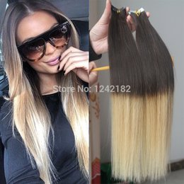 Cheap T4 613 Two Tone Ombre Tape In Hair Extension Brazilian Remy Straight Human Hair Best Pu Skin Weft Hair Extensions