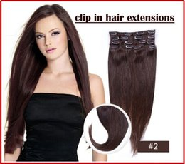 """Wholesale - -12""""- 26"""",8pcs Brazilian remy Hair straight clip-in hair remy human hair extensions, 2# dark brown ,100g set,"""