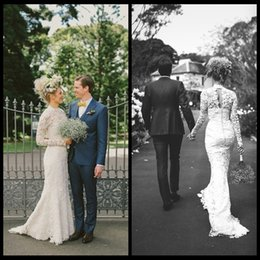 Delicate Lace Mermaid Wedding Dresses 2020 High Neck Long Sleeves Hollow Back Sweep Train Bridal Wedding Gowns