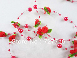 Wholesale 10pcs Red Bead Garland With Organza Rose Florets Wedding festival home decorate pearl Strand flower