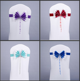 Wholesale Luxury Crystal Diamond Buckle Stain Bow Spandex Chair Cover Sashes Lace Flower Side Sashes For Wedding Decoration Supplies