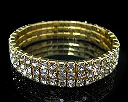 18 K Gold Plated With Clear Crystal Rhinestone Bridal Bracelet For Wedding Party Fashion Jewelry Bracelet