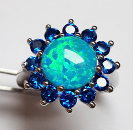Charming Blue Fire Opal Wedding Ring With Sapphire