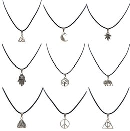 30 pcs Wholesale Tibet Silver PU leather necklace designs life tree star of david pendant jewelry for woman