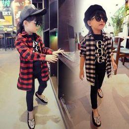 2015 Spring children's clothing new style children shirts girls big grid sleeve shirt kids casual shirt 5pcs lot C001