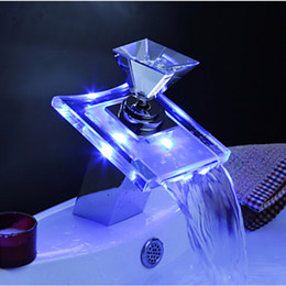 Wholesale LED Waterfall Spout Bathroom Basin Faucet Chrome Brass Glass Vanity Sink Mixer Tap