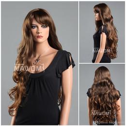 Les brunes à vendre-Super longues perruques de cheveux bruns pour les cheveux des femmes tresses perruques avec franges Fibre synthétique de 100% Kanekalon 1pc Lot Livraison gratuite 0729ZL856-4T