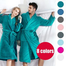 Wholesale Buy Get Slippers Free Bath Robe Women Bathroom Robe Men Bathrobe Men Pajama Thick Long Spa Robe Shower Homewear Coral Fleece