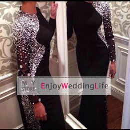 Wholesale New Sexy Long Sleeves Black Jersey Mermaid Evening Dresses Beaded Crystals Floor Length Prom Gowns