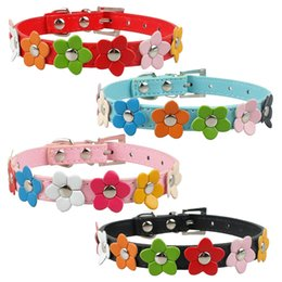 (4 Sizes 4 Colors)Puppy Dog Collars PU Leather Dog collar With Flowers Pink Red Blue Black