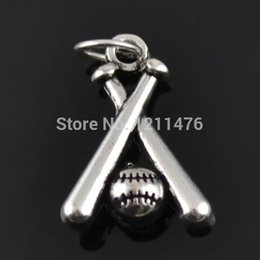 Wholesale Antique Silver Plating Alloy Baseball Charms For Expandable Bangles Sport Ball Charms For Bangles AAC524
