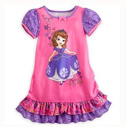 Wholesale Retail clothing Princess sofia dress cartoon girls Short sleeve pajamas nightgown children Flouncing Purple dress kids clothes HX