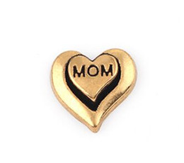 20PCS lot Gold Color Mom Letter DIY Heart Floating Locket Charms Fit For Glass Living Magnetic Locket
