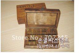 Wholesale-Free ship!!3 set 70 pcs set wood number and letter stamp gift set mini stamp multi-purpose Decorative DIY funny work Wholesale