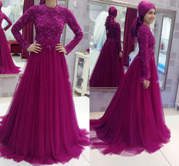 Long SLeeve Purple Lace Evening Dresses Muslim style With High Neck Robe De Soiree Elegant party prom Gowns 2016 Design