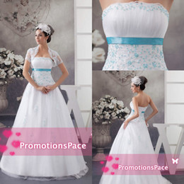 New Design Strapless 2015 Empire Waist Wedding Dresses With Light Sky Blue Beading Appliqued Satin Sash Plus Size Bridal PartyGowns WDH1-476