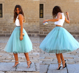 Tutu Tulle Skirts Knee Length Tiered Puffy Elastic Waist Cocktail Party Dresses Princess Light Sky Blue Colorful Bust Skirts Cheap