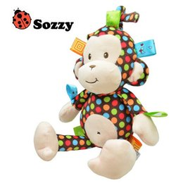 Wholesale Plush Baby Toy Sozzy Baby Rattle Toys Monkey Pull Bell Plush Toys Infant Appease Dolls High Quality