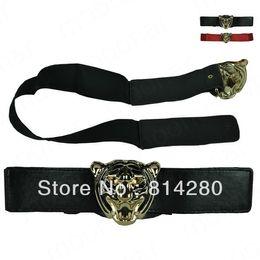 Free Shipping Tiger Head PU Leather Belt Stitch Stretchy Women Belt Waistband Ladies Costume Accessories Y0*PJ045#M5