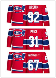 2018 New season Stitched Montreal Canadiens 6 Shea Weber 31 Carey Price 92 Jonathan Drouin Blank Ice Hockey Jerseys Red