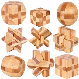 Wholesale 9pcs MINI Ancient kids educational learning wooden toys D IQ brainteaser adult burr puzzle lock and unlocking games