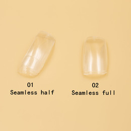 Fake Nails Half Nail Art False Acrylic Fake Nail Tips 2 bags (500 pcs bag) Seamless Clear Full&Half Cover Nail G4