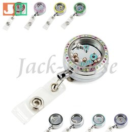 Wholesale Locket badge holder glass locket reel teacher retractable id holder locket badge holder badge reel lanyard nurse badge reel