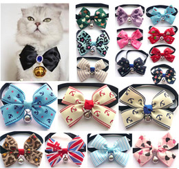 Wholesale Dog Cat Collars Adjustable Pet Dogs Cats Bow Tie with Bells Cravat Colors Available