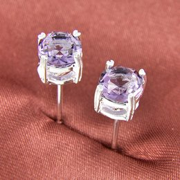 Wholesale Half Dozen Pairs Newest Holiday Gift Jewelry Round Amethyst Gemstone Sterling Silver Plated USA Stud Wedding Earrings