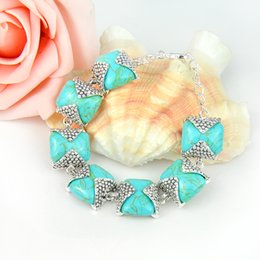 Wholesale new arrival silver fashion antique natural blue turquoise bracelets bangle jewelry for party B0939
