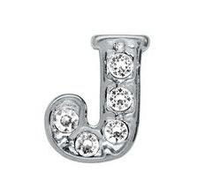 """Wholesale 20PCS rhinestone Silver Alphabet Letter """" J """" Charms Fit For Floating Locket Jewelry Pendant Gift For Friends"""