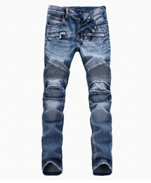 Wholesale Fashion Men s foreign trade light blue black jeans pants Balmain motorcycle biker men washing to do the old fold Trousers Casual