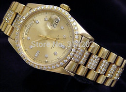 LUXURY WATCH NEW men Automatic Mechanical Movement 18K GOLD WATCH w DIAMONDS Wristwatches Men's Watch Wristwatch