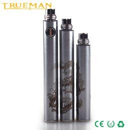 Wholesale TRUEMAN HAHA EVOD USB Passthrough Battery Dragon Design Vacuum Coating Micro pin Battery For ce4 ce5 mt3 Vaporiver Korea DHL