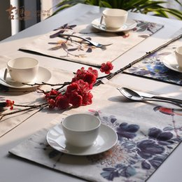 Wholesale Auspicious new Chinese ink painting of flowers and eat mat Wheatgrass cerulean language art square table mat heat insulation cup mat tea tab