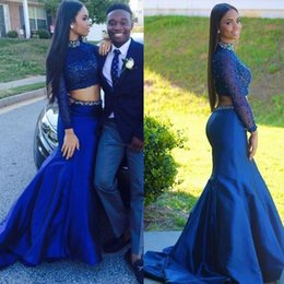 Royal Blue Two Pieces Formal Evening Dresses High Neck Beaded Mermaid Pleats Sweep Train Taffeta Crystal Sequins Prom Dress Cxustom made