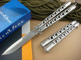 Wholesale Bench made BM42 Balisong Knife Titanium Butterfly Knife Plain BM43 C Weehawk blade satin survival gear tactical knife with retail box