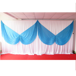 Free Shipping: 1PCS MOQ 3M*6M Sky Blue Butterfly Swag & White Ice Silk Fabric Backdrop Drape Curtain For Wedding Use