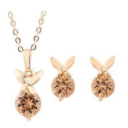 Newest Rabbit Zircon Necklace Earring Sets Fashion Jewelry For Women Best GIFT High Grade Zircon Jewlery Sets 1305