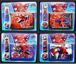 Free shipping wholesale 12set SpiderMan Wristwatch watch and Purses Wallets Sets Children Gifts