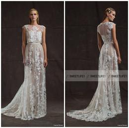 Crew Neck Elegant Lace Limor Rosen Wedding Dresses Sheath Cap Sleeves Bridal Gowns Two Pieces Appliques Court Train Wedding Gowns Pretty