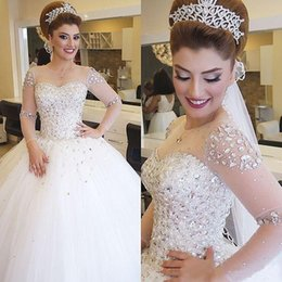 Ball Gown Wedding Dresses 2016 Long Sleeves Bridal Dresses Illusion Neckline Luxury Wedding Gowns with Rhinestones Pearls Crystals