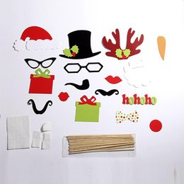 Wholesale 17PCS Set Christmas cap reindeer mustache party set hot sale children adult creative Funny take a photo Figures Toy party gift set