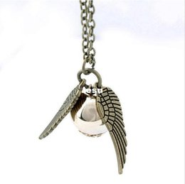 Wholesale New Arrive Harry Potter Necklace Fine Jewelry Angel Wing Charm Golden Snitch Pendent Necklace