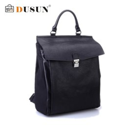 DUSUN Famous Brand Korean star designer backpack women&men leather mochila black hiking travel bag Preppy Style school bag