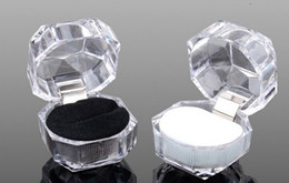 Free shipping, festival, transparent imitated crystal ring box Acrylic jewelry box Stud earrings jewelry box gift box