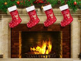 2015 New Christmas Deer stockings Christmas candy apple gift bag Xmas Bag Gift Red in stock